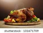 whole roasted chicken with... | Shutterstock . vector #131671709