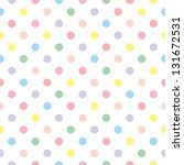 Stock photo seamless sweet pattern or texture with colorful pastel polka dots on white background for kids 131672531