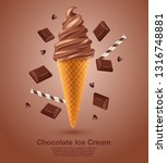 chocolate   flavored soft ice... | Shutterstock .eps vector #1316748881