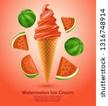 watermelon   flavored soft ice... | Shutterstock .eps vector #1316748914