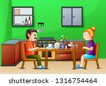 family dinner on the kitchen... | Shutterstock . vector #1316754464