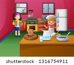 happy cooking with sister and... | Shutterstock . vector #1316754911