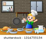 cute little boy in apron and... | Shutterstock .eps vector #1316755154