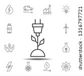 plant and electric plug icon....