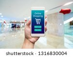 smart phone online shopping in... | Shutterstock . vector #1316830004