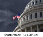 Stock photo dark sky over the us capitol building dome in washington dc 131684321