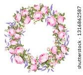 summer flowers circle frame... | Shutterstock .eps vector #1316862587
