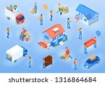 moving in new house isometric... | Shutterstock .eps vector #1316864684