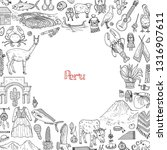 Card template with cute hand drawn Peru related icons including fish, traditional things and other. Vector travel collection.