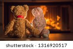 two plush toys are heated near... | Shutterstock . vector #1316920517