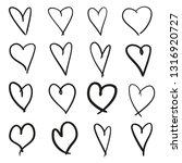hand drawn grunge hearts on... | Shutterstock . vector #1316920727