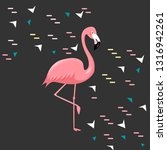 pink flamingo on a black... | Shutterstock .eps vector #1316942261