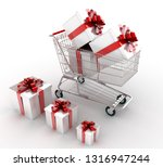 shopping cart with gifts. 3d... | Shutterstock . vector #1316947244