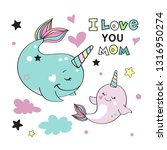cute whales mom and baby and... | Shutterstock .eps vector #1316950274