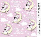 cute unicorn sits on the moon... | Shutterstock .eps vector #1316950277