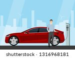man charges an electric car at... | Shutterstock .eps vector #1316968181