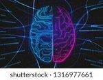 glowing digital brain on... | Shutterstock . vector #1316977661
