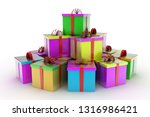 stack of gift boxes . 3d... | Shutterstock . vector #1316986421