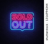 sold out neon text vector... | Shutterstock .eps vector #1316994344