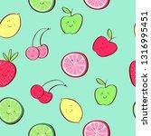 cute tropical fruit cartoon... | Shutterstock .eps vector #1316995451