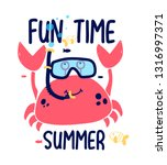 Crab Print Design With Slogan....