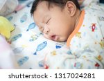 adorable infant boy sleeping on ... | Shutterstock . vector #1317024281