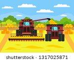 grain crop harvest flat vector... | Shutterstock .eps vector #1317025871