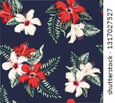 tropical red  white hibiscus... | Shutterstock .eps vector #1317027527