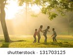 chinese family having quality... | Shutterstock . vector #131703125