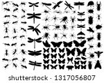 set of insects silhouettes | Shutterstock .eps vector #1317056807