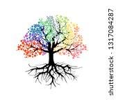 abstract vibrant tree logo...   Shutterstock .eps vector #1317084287