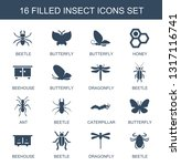16 insect icons. trendy insect... | Shutterstock .eps vector #1317116741