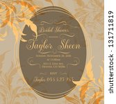 invitation or wedding card with ... | Shutterstock .eps vector #131711819