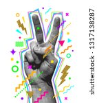 peace hand sign. engraved style ... | Shutterstock .eps vector #1317138287