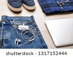 male clothes and accessories on ... | Shutterstock . vector #1317152444
