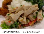 white pork sausage salad menu | Shutterstock . vector #1317162134