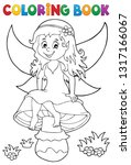 coloring book fairy sitting on... | Shutterstock .eps vector #1317166067