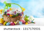 easter composition with little... | Shutterstock . vector #1317170531
