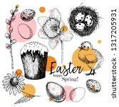 easter greeting card. hand... | Shutterstock .eps vector #1317205931