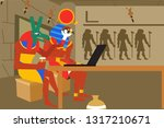 amon ra and anubis are sitting... | Shutterstock .eps vector #1317210671