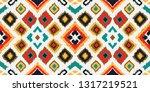 ikat geometric folklore... | Shutterstock .eps vector #1317219521