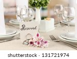 reserved sign on restaurant... | Shutterstock . vector #131721974