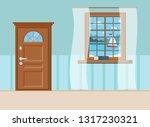 wood closed entrance door  book ... | Shutterstock .eps vector #1317230321