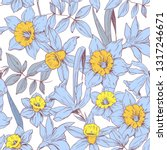 seamless pattern with daffodils ... | Shutterstock .eps vector #1317246671
