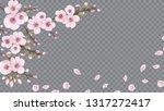 flying sakura flowers. the idea ... | Shutterstock .eps vector #1317272417