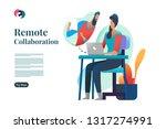 remote collaboration. video... | Shutterstock .eps vector #1317274991