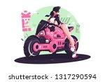 glamour girl biker riding on... | Shutterstock .eps vector #1317290594