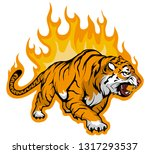 Snarling Bengal Tiger On Fire...