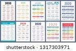 calendar 2020. colorful set....   Shutterstock .eps vector #1317303971