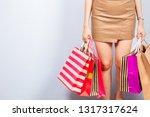 shopaholic girl holding a... | Shutterstock . vector #1317317624
